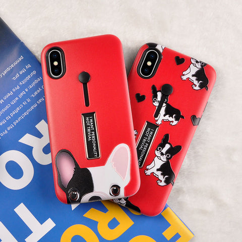 Lovely Cute Cartoon Frenchie Bulldog Phone Case For iphone X 6 6S Plus 7 7Plus 8 8Plus with Fashion Stretch Ring Stand Back Cover