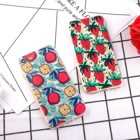 Cute Summer Strawberry fruits Pattern Phone Case For iPhone 7 7 Plus 5 5S SE 6 6S Plus Cool Soft TPU Silicon Back Cover