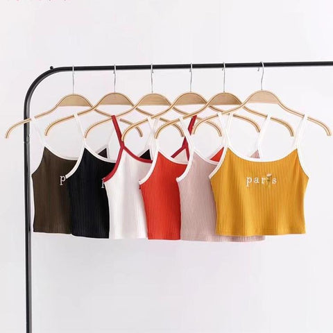 Summer Fashion Sexy Letters Rose Embroidery Short Top Women Sleeveless Tank Tops Crop Tops Slim Vest Tube Tops