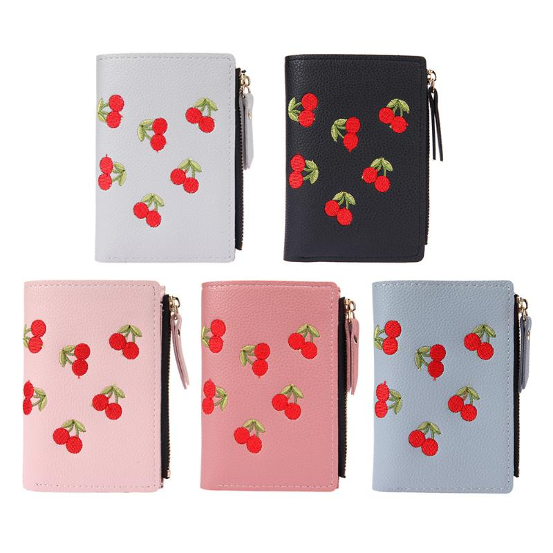 Cherry Embroidered Wallet