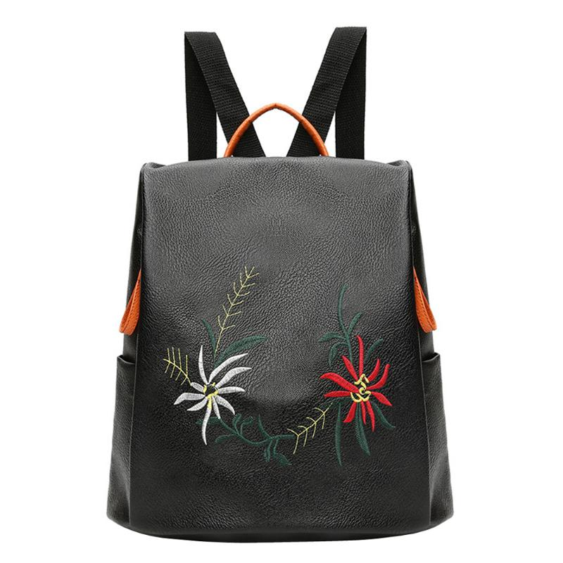 Embroidery Flower Women Backpacks PU Leather Backpacks For Teenage Girls Female Shoulder Bags Women School Backpack Sac A Dos