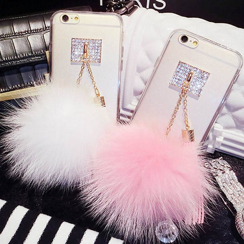 Luxury Fur Ball Crystal Soft TPU Back Cover Phone Case For iPhone 7 6 6S 6Plus 6S Plus Diamond With tassel for iPhone7