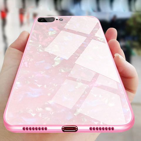 Luxury Dream Shell pattern Phone Case For iPhone X 6 6S Plus 8 8Plus 7 7Plus Glossy Soft Frame + Hard Glass Phone Back Cover