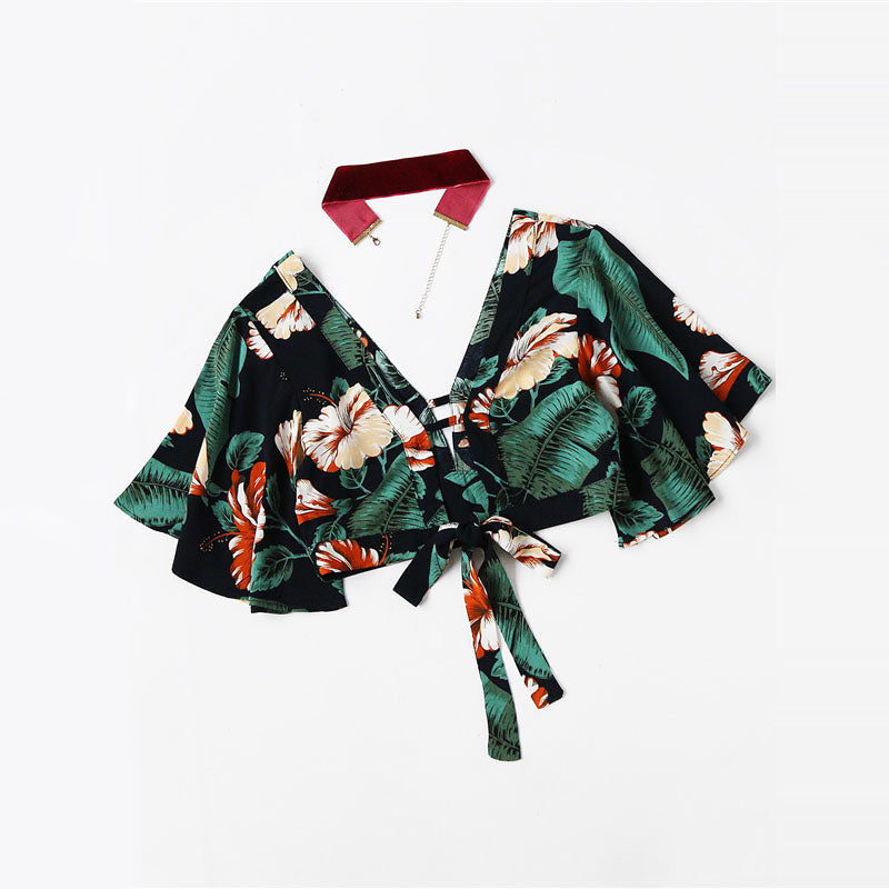 2018 Plunging V-neckline Floral Print Random Knot Crop Top Summer Short Sleeve Vacation Woman Blouse Ruffle Blouse