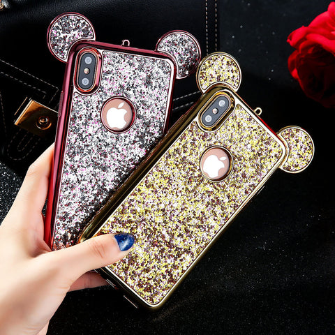 Fashion 3D Luxury plating Glitter Bling Mouse Ear Phone Case For iPhone X Soft electroplate shiny Silicone Back Cover Case