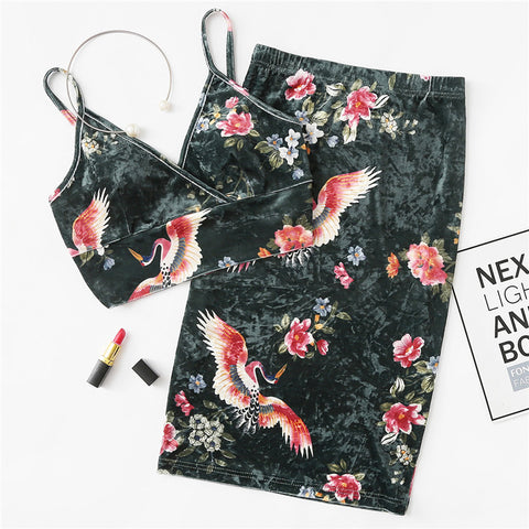 Ming Floral Velvet Bralette Top and Pencil Skirt Two Piece Set