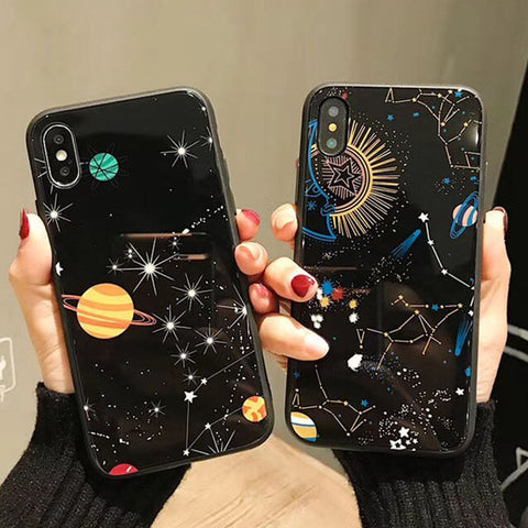 for iphone X 7 7Plus 6 6S Plus 8 8Plus Glossy constellation PC back cover