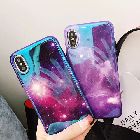 Fashion Blu-Ray Laser Dazzling Purple Sky Stars Phone Cases For iPhone X 6 6S Plus 7 7Plus 8 8Plus Soft IMD Glossy Back Cover
