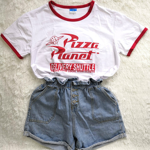 Funny Pizza Planet Letter Printed Women Tshirt Harajuku Short Sleeved Summer Top Plus Size Elastic Basic t shirt Women