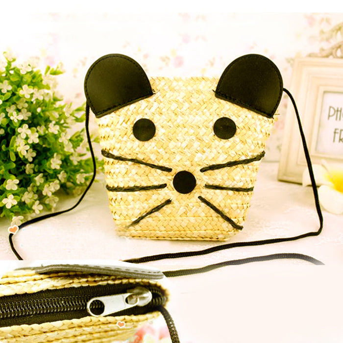 Hot 2018 Women Cute Cat Shape Bags Fashion Women's Beach Bag Straw Summer Weave Woven Shopping Purses Handbags bolsa AB0141