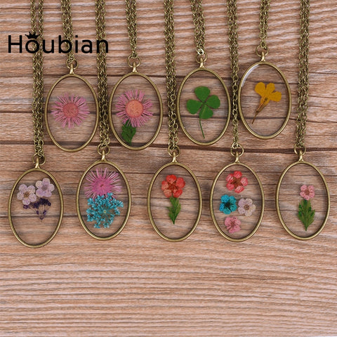 Dried Flower Mirror Pendant Necklace