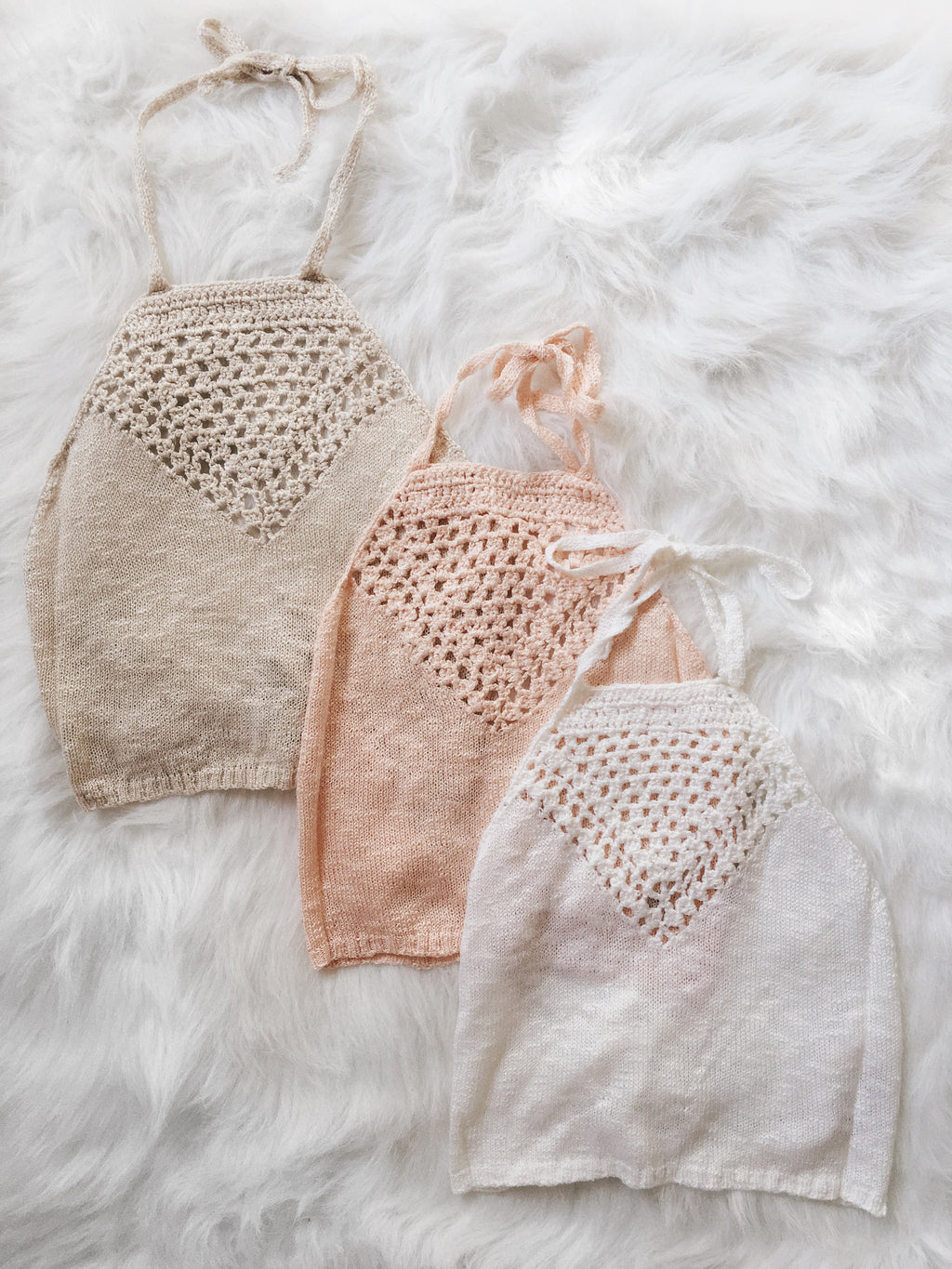 Tiana Sweater Knit Halter (Beige, Peach, White)