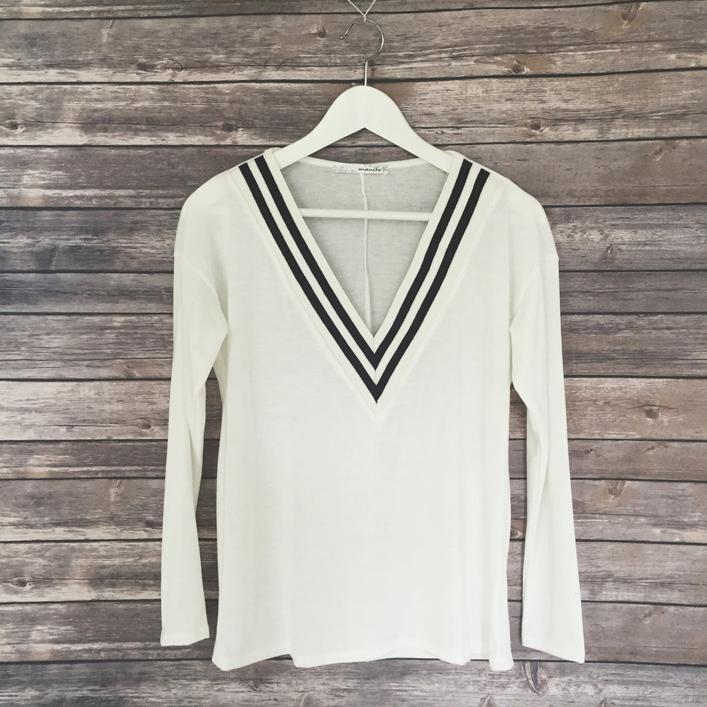 Varsity Light Weight Sweater (White)
