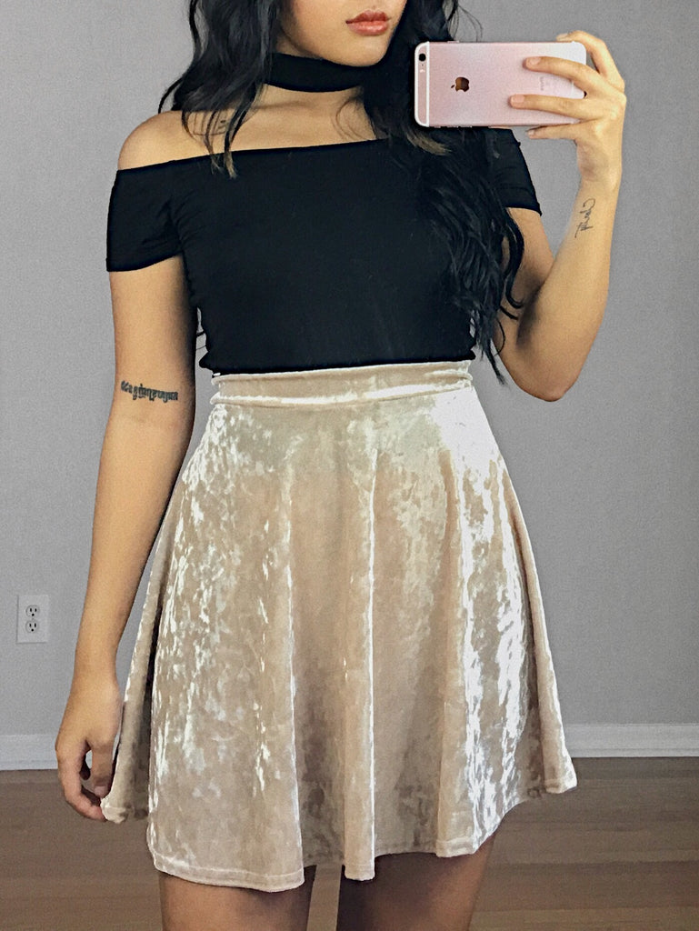 Mila Velvet Skirt (Gold)