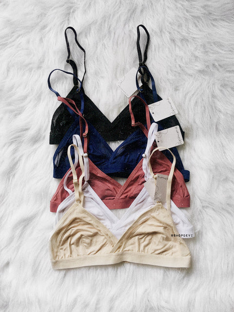 Mesh Trim Bralette (Black, White, Pink, Beige, Blue)