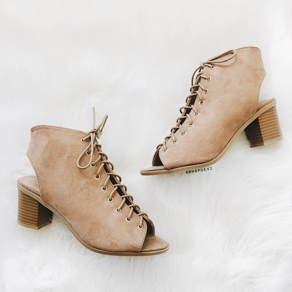 Breeze Lace Up Bootie - Taupe