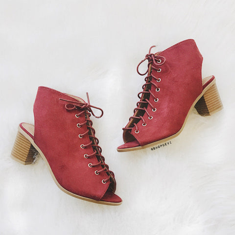 Breeze Lace Up Bootie - Wine