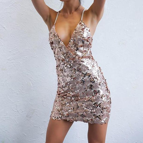 New Fashion Sexy Sequin Dress Deep V Neck Night Party Club Ladies Sexy Shine Clubwear Short Vestidos Mini Dresses