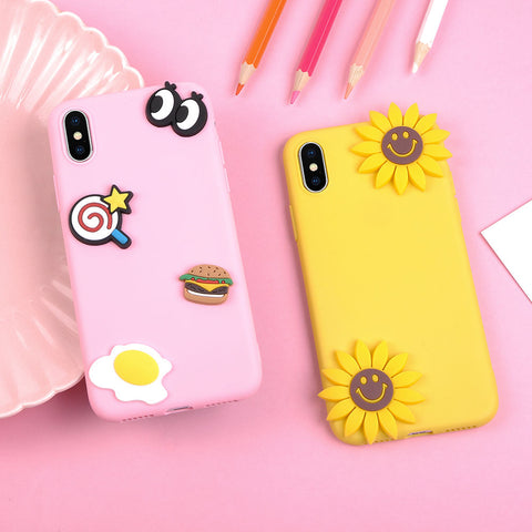 For iPhone X 5 5S 6 6S Plus 7 7 Plus 8 8 Plus Handmade Soft TPU Back Cover