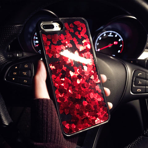 Luxury Bling Glitter Red Love Heart Phone Case For iPhone 7 8 6 6S Plus Cute Dynamic Liquid Quicksand Cover For iPhone8 X 7Plus