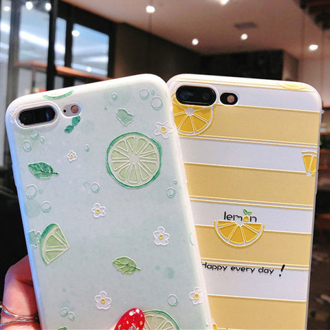 Luxury Painting Lemon Fruit Flower Lovely Soft TPU Phone Case For iphone X 5 5S SE 7 8Plus 6 6S Plus watermelon words Back Cover