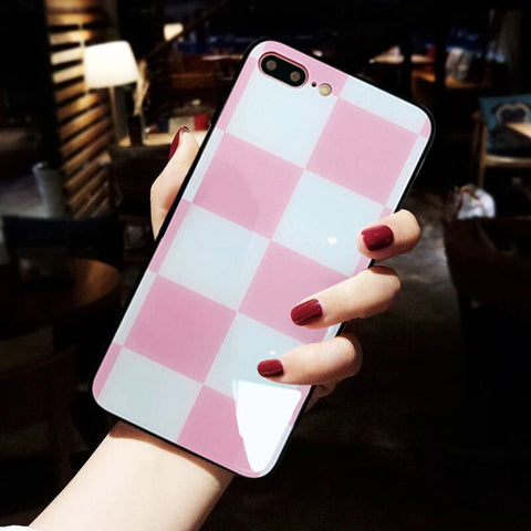 Luxury Tempered Glass Case For iPhone X 10 8 8Plus Slim Pink Cases Cover For iPhone 7 7Plus 6 6s 6Plus Hard Coque ipone Shell