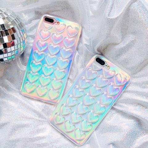 Luxury laser shinning love hearts glitter Phone Case for iphone 7 7Plus 6 6S Plus Soft transparent Clear back cover with Lanyard
