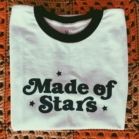 Made of Stars Letter Shirts Aesthetic Women Summer T-shirt Graphic Tee Tumblr Tshirt Ringer Streetwear Clothing