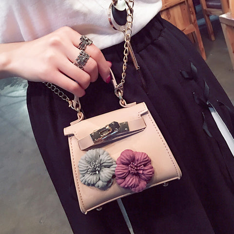 Mini Cute Women Mobile Phone Bags Fashion Small Purse Female Woven Appliques Shoulder Bags Messenger Bag with Long Chain 312