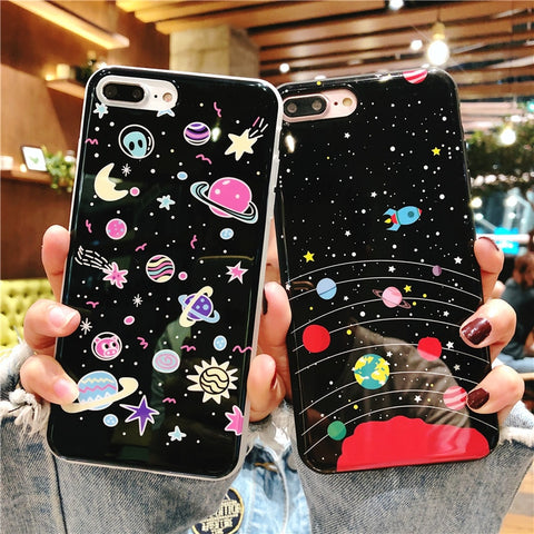 NEW Cartoon Space Planet Phone Case For iphone 7 8 6 6S Plus Luxury Soft Silicone Cover Cute Star Marble Case For iphone X 8Plus