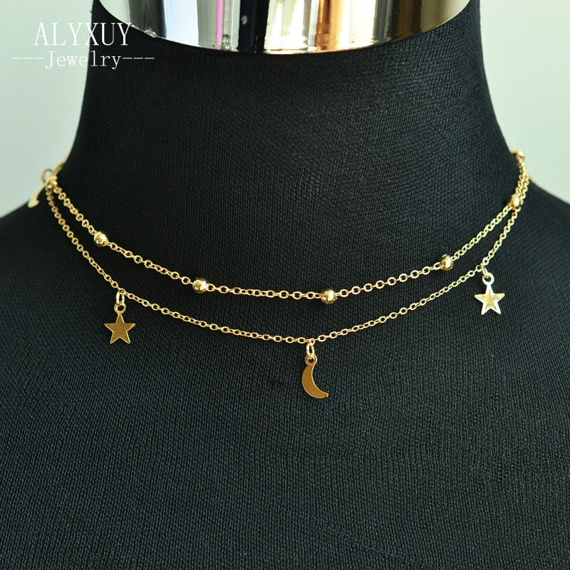 f949914127e6d Moon / Star Choker Necklace
