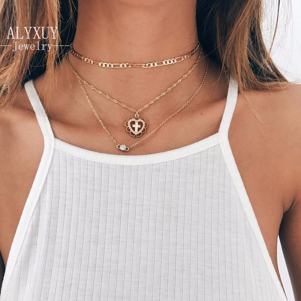 Heart Cross Necklace Set