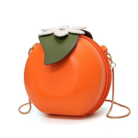 Personality Flap Women Leather Crossbody Bag Summer Fruit Circular Orange Bags Casual Sling Chain Messenger Phone Coin Purses Orange Blossom