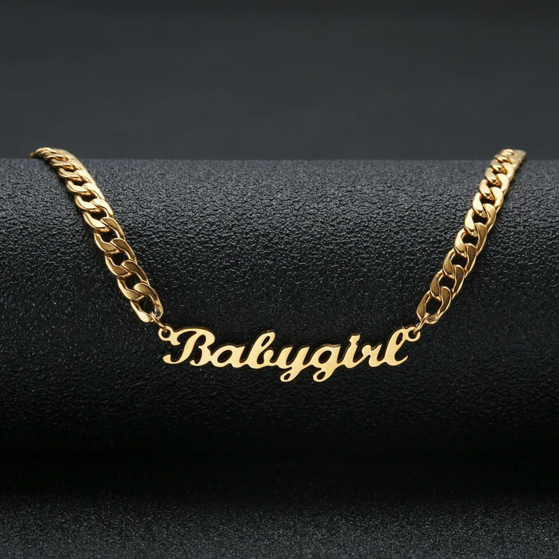 7f3a1622d7eab Personalized Custom Name Necklace Stainless Steel Statement Pendant &  Necklace Custom Baby girl Name Jewelry For Women Gift - shopdevi