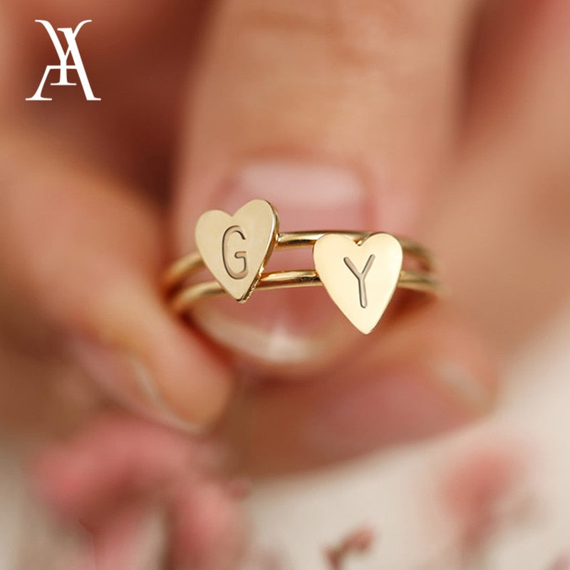 2abbafcfd69b1f Personalized Hand Stamped Stacking A-Z Initial Ring Bohemian Engraved  Letter Rings for Women Gold Color Heart ...