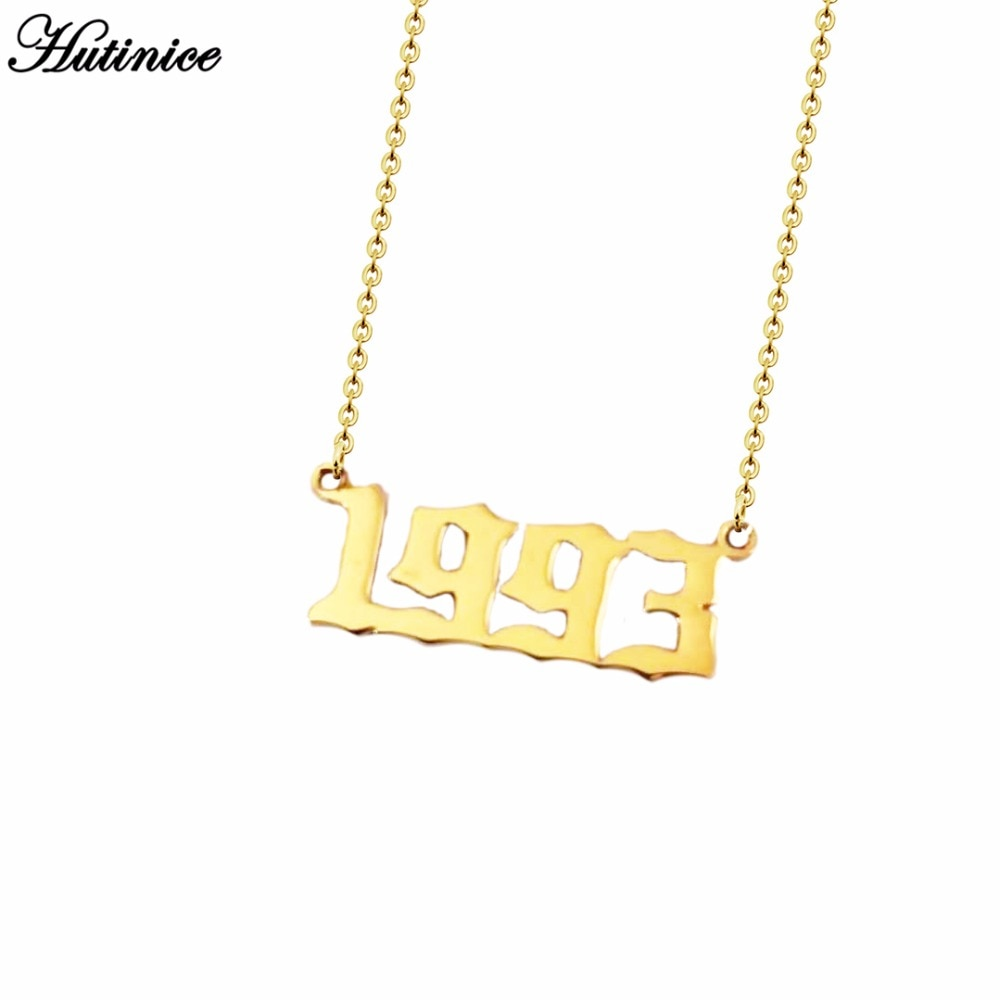 5fd631e43 ... Personalized Old English Number Necklaces Women Custom Jewelry Year  1991 1992 1993 1994 1995 1996 1997 ...