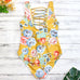 Yellow Floral One Piece Swim Suit