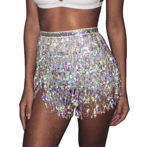 Seductive Metal Crystal Tassel Mini Skirt Glitter Women Chain Waist Sequins Skirt Luxury Party Outfits Club