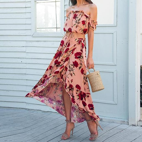 Off shoulder ruffle two piece summer dress suit Casual elastic beach women dress maxi Backless wrap long dress vestidos