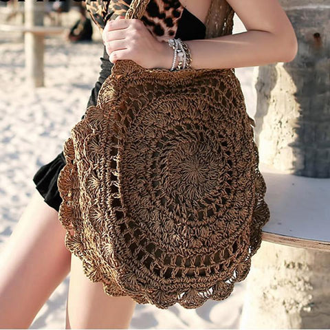 New Fashion Womens Straw Handbags Summer Woven Shoulder Tote Beach Bag Circle Handbag Wallet Purse C78