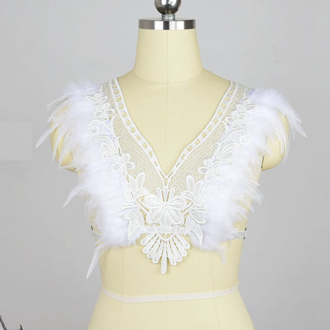 White Lace and Feather Harness Bra Wings Epaulets Angel Wings Body harness bondage Feather Harness Crop Top Rave Wear Lingerie