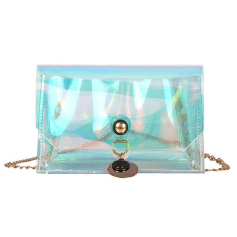 Women Laser Hologram Chain Party Handbags Elegant Fashion Shoulder Bags Small Clear Crossbody Bag Portable Mini Messenger Bags