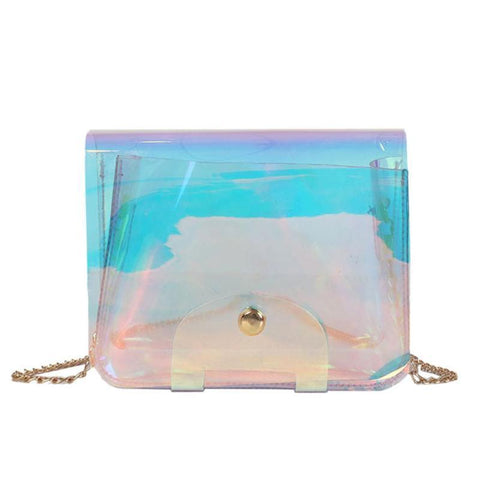 Women PVC Laser Hologram Messenger Bag Small High Quality Shoulder Handbags Girls Ladies Chain Party Transparent Crossbody Bags
