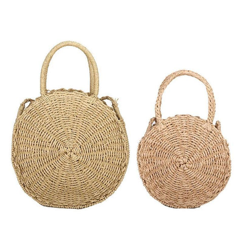 Women Retro Rattan Woven Straw Round Handbag Casual Simple High Quality Shoulder Bag Beach Travel  Messenger Totes for Girls New