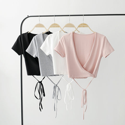 Women V Neck Crisscross Tie Crop Tee With Wrap Detail Short Sleeve Crop Tops