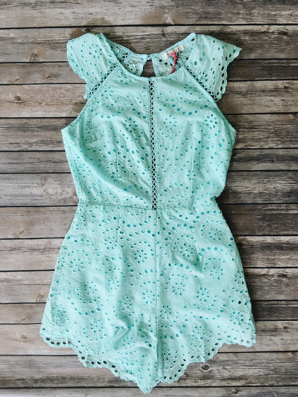 Belle Scalloped Romper (Aqua)