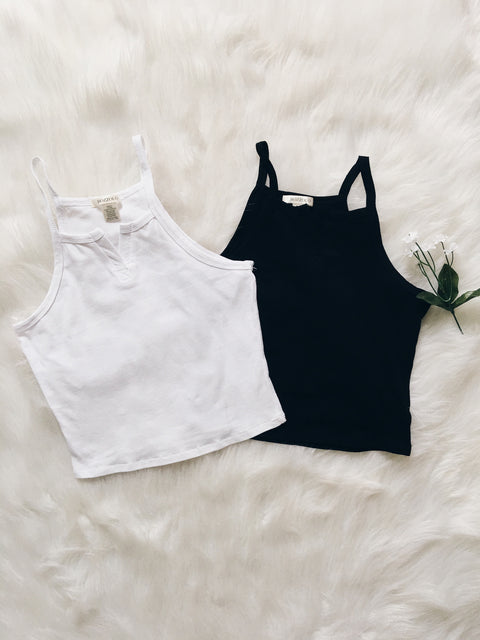 Basic Split V Crop Tank (Black, White)
