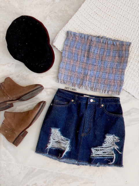 Secret Mesh Denim Skirt
