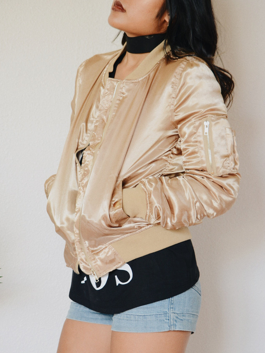 Satin Bomber Jacket (Gold)