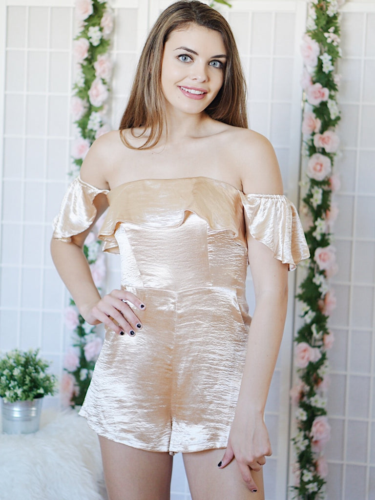 Satin Romper (Gold)